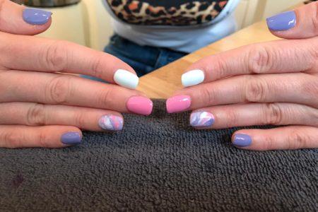 spring marble nail art